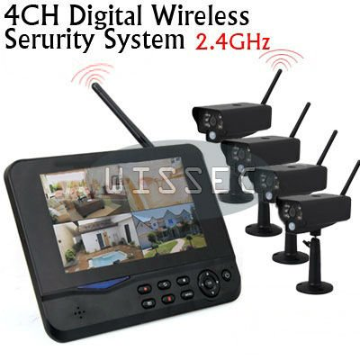 Home-4CH-7-inch-LCD-Monitor-4pcs-2-4G-Wireless-Security-CCTV-Camera-Recording-System